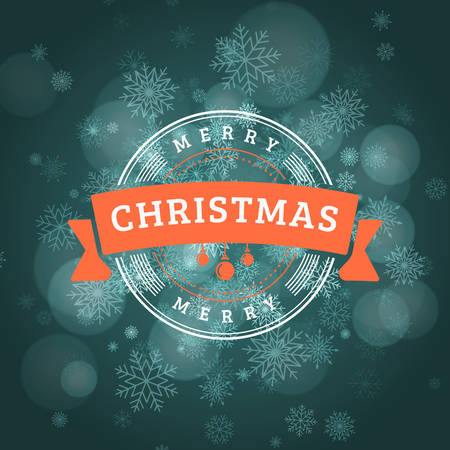 Christmas greeting card. Vintage Christmas typographic background. Vector Illustration