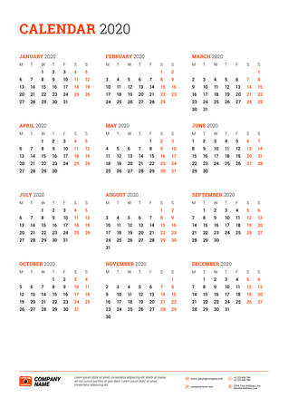 Calendar poster for 2020 year. Week starts on Monday. Printable vector stationery design template