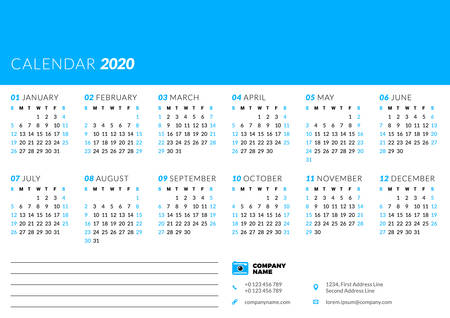 Calendar for 2020 year. Week starts on Sunday. Printable vector stationery design template