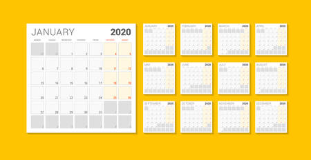 Calendar planner template for 2020 year. Week starts on Monday. Printable vector stationery design template