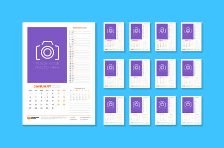 Wall calendar template for 2020 year. Week starts on Monday. Vector illustration. Set of 12 pages  イラスト・ベクター素材