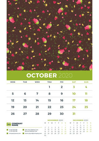 Wall calendar template for October 2020. Week starts on Monday. Design template with cute floral pattern. Vector illustration