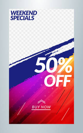 Editable template for social media stories. story template. Vector colorful illustration. Promotion on web app