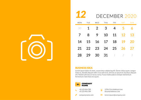 Desk calendar template for December 2020. Week starts on Monday. Typographic design template. Vector illustration