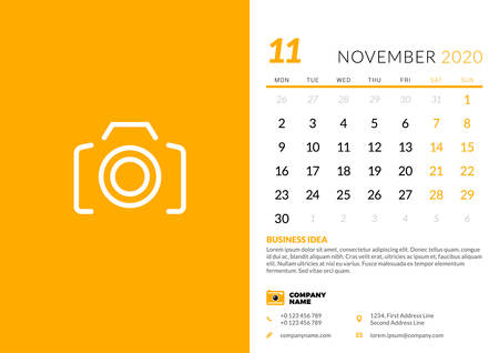 Desk calendar template for November 2020. Week starts on Monday. Typographic design template. Vector illustration