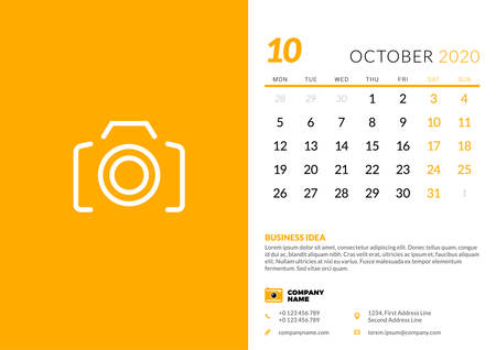 Desk calendar template for October 2020. Week starts on Monday. Typographic design template. Vector illustration