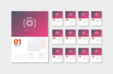 Wall calendar template for 2020 year. Week starts on Monday. Vector illustration. Set of 12 pages Illustration