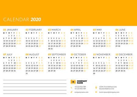 Calendar for 2020 year. Week starts on Monday. Printable vector stationery design template Vektoros illusztráció