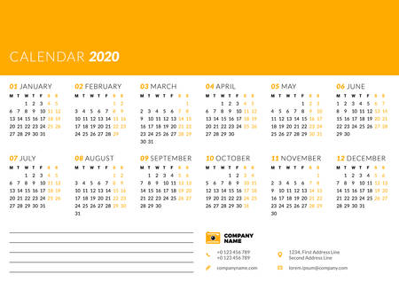 Calendar for 2020 year. Week starts on Monday. Printable vector stationery design template