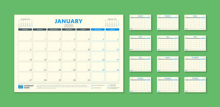 Calendar planner for 2020 year. Stationery design template. Vector illustration. Week starts on Monday