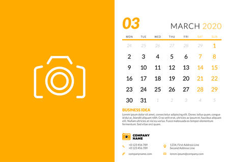 Desk calendar template for March 2020. Week starts on Monday. Typographic design template. Vector illustration