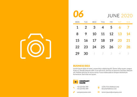 Desk calendar template for June 2020. Week starts on Monday. Typographic design template. Vector illustration