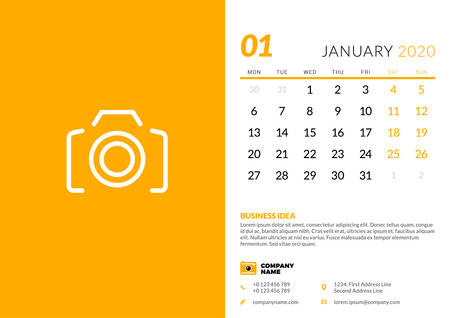 Desk calendar template for January 2020. Week starts on Monday. Typographic design template. Vector illustration Ilustrace