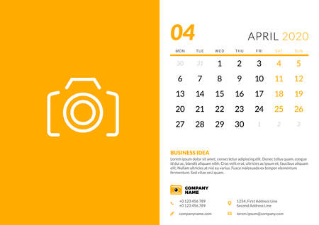 Desk calendar template for April 2020. Week starts on Monday. Typographic design template. Vector illustration