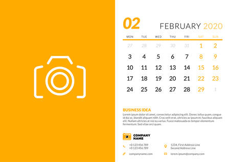 Desk calendar template for February 2020. Week starts on Monday. Typographic design template. Vector illustration