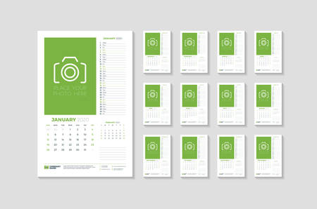 Wall calendar template for 2020 year. Week starts on Sunday. Vector illustration. Set of 12 pages