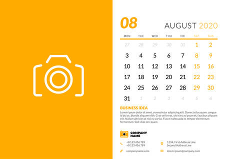 Desk calendar template for August 2020. Week starts on Monday. Typographic design template. Vector illustration Ilustrace