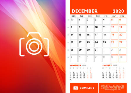 Desk calendar planner template for December 2020. Week starts on Monday. Design template. Vector illustration Illustration