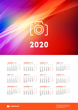 Calendar poster for 2020 year. Week starts on Monday. Printable vector stationery design template with abstract background