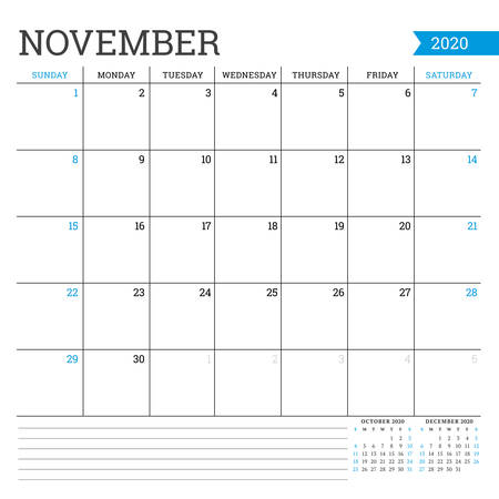 November 2020. Square monthly calendar. Planner template. Minimalist style. Vector illustration. Week starts on Sunday Ilustrace