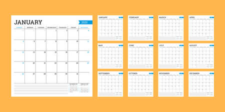 Calendar 2020. Square monthly calendar. Planner template. Minimalist style. Vector illustration. Week starts on Sunday  イラスト・ベクター素材