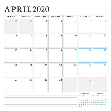 April 2020. Calendar planner stationery design template. Vector illustration. Week starts on Monday