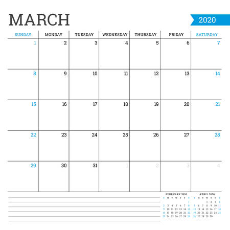 March 2020. Square monthly calendar. Planner template. Minimalist style. Vector illustration. Week starts on Sunday