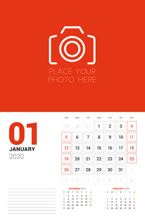 Wall calendar planner template for 2020 year. January 2020. 3 months on the page. Week starts on Sunday. Vector illustration