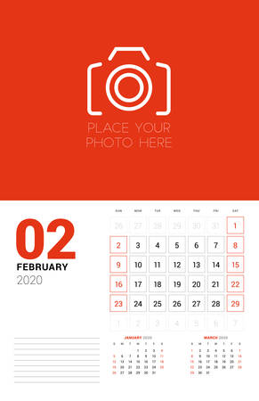Wall calendar planner template for 2020 year. February 2020. 3 months on the page. Week starts on Sunday. Vector illustration