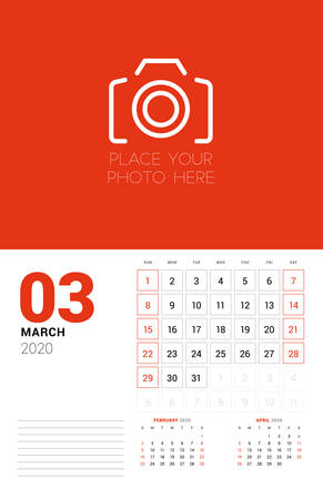 Wall calendar planner template for 2020 year. March 2020. 3 months on the page. Week starts on Sunday. Vector illustration