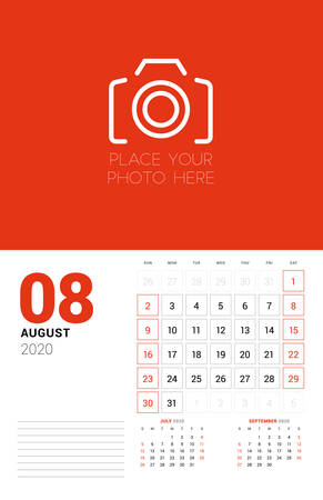 Wall calendar planner template for 2020 year. August 2020. 3 months on the page. Week starts on Sunday. Vector illustration Ilustracja