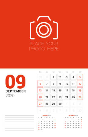 Wall calendar planner template for 2020 year. September 2020. 3 months on the page. Week starts on Sunday. Vector illustration Ilustracja