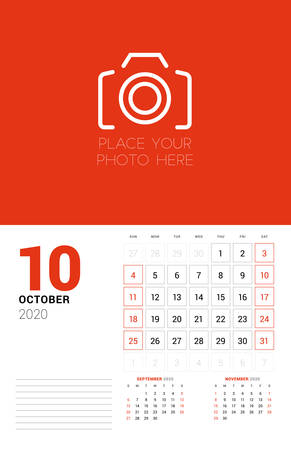 Wall calendar planner template for 2020 year. October 2020. 3 months on the page. Week starts on Sunday. Vector illustration Ilustracja