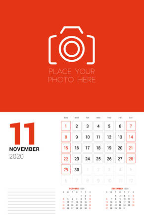 Wall calendar planner template for 2020 year. November 2020. 3 months on the page. Week starts on Sunday. Vector illustration