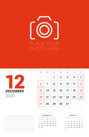 Wall calendar planner template for 2020 year. December 2020. 3 months on the page. Week starts on Sunday. Vector illustration Ilustracja