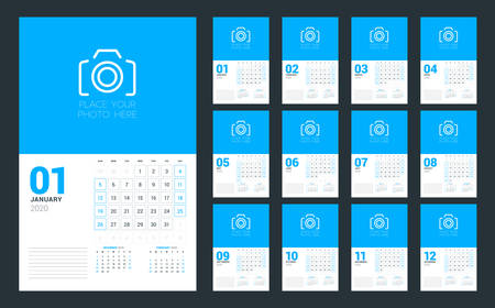 Wall calendar planner template for 2020 year. Set of 12 months. Week starts on Sunday. Vector illustration Illustration