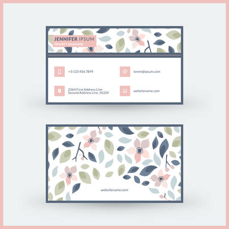 Double-sided horizontal modern business card template with cute floral background. Vector mockup illustration. Stationery design