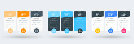 Pricing table design template for websites and applications. Set of three different color variations. Vector pricing plans. Flat style vector illustration Ilustração