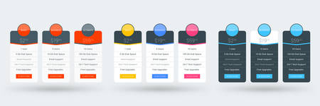 Pricing table design template for websites and applications. Set of three different color variations. Vector pricing plans. Flat style vector illustration 向量圖像