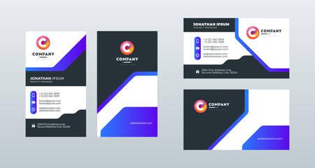 Double sided modern business card template layout. Portrait and landscape orientation. Vector illustration Ilustración de vector