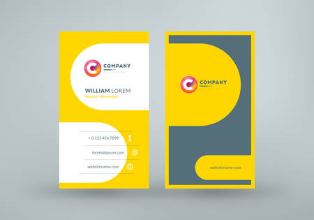 Double sided business card template layout. Vertical visiting card. Vector illustration