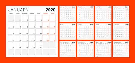 Calendar planner for 2020 year. Week starts on Monday. Set of 12 months. Printable vector stationery design template Vektoros illusztráció
