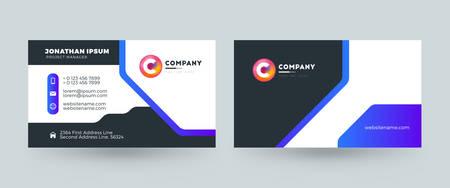 Diseño de plantilla de tarjeta de visita de doble cara. Tarjeta de visita horizontal. Ilustración vectorial Ilustración de vector