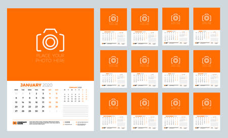 Calendar for 2020 year. Wall calendar planner template. Week starts on Monday. Typographic design template. Set of 12 months. Vector illustration