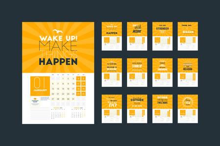 Modello di pianificatore di calendario da parete per il 2020. Modello di stampa di design vettoriale con citazione motivazionale tipografica. Set di 12 mesi. La settimana inizia lunedì