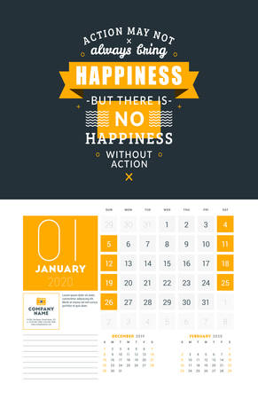 Wall calendar template for January 2020. Vector design print template with typographic motivational quote on yellow textured background. Week starts on Sunday