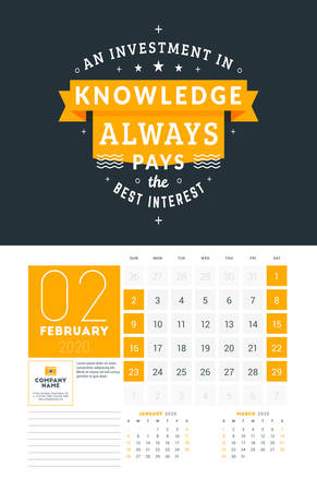 Wall calendar template for February 2020. Vector design print template with typographic motivational quote on yellow textured background. Week starts on Sunday