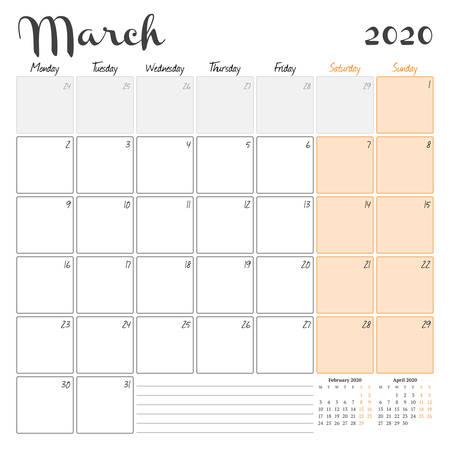 Mars 2020. Modèle imprimable de planificateur de calendrier mensuel. Illustration vectorielle. La semaine commence le lundi