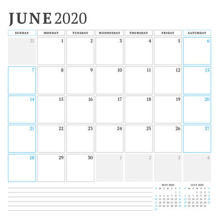 June 2020. Calendar planner stationery design template. Vector illustration. Week starts on Sunday