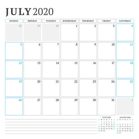 July 2020. Calendar planner stationery design template. Vector illustration. Week starts on Sunday